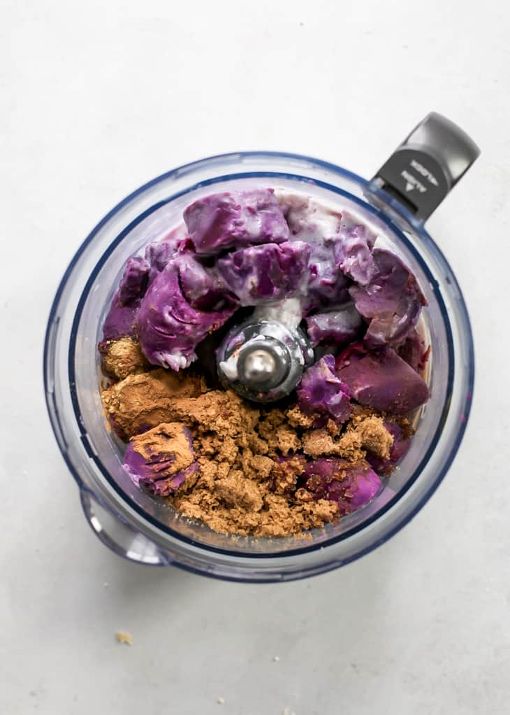 purple sweet potato pie filling ingredients in food processor bowl