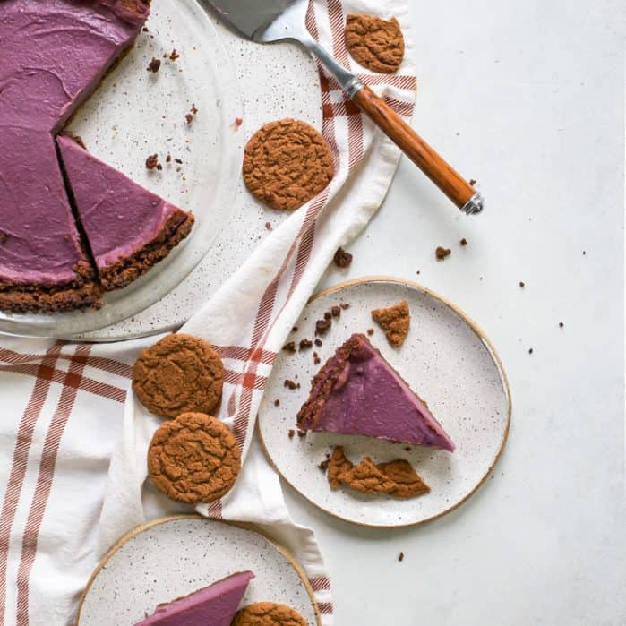 purple sweet potato pie pieces with gingersnap cookies