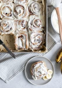 cream cheese frosting is the best for banana cinnamon rolls