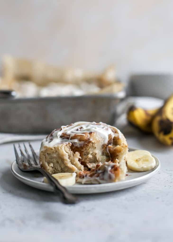 banana cinnamon rolls on plate with fork
