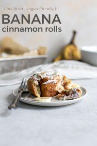 banana cinnamon rolls on plate with fork