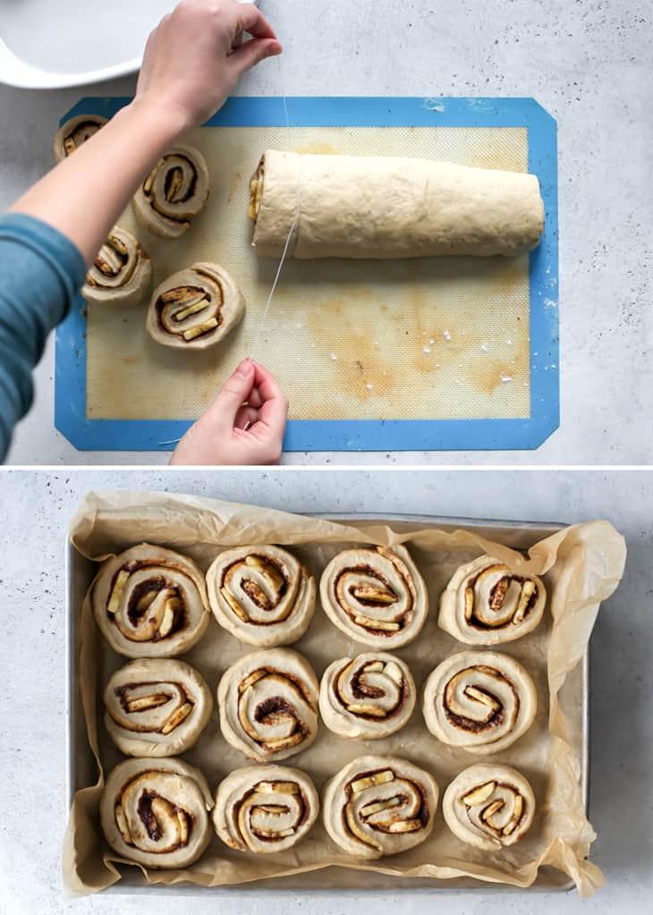 using floss to cut cinnamon rolls