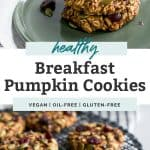 two photos of healthy breakfast pumpkin cookies on green plate