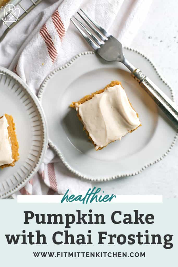 pumpkin cake on dessert plates with fork