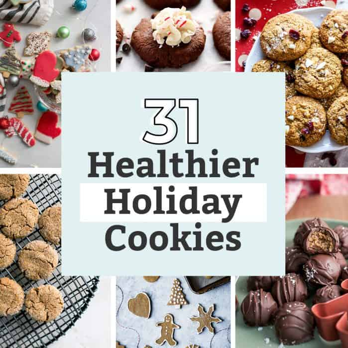 roundup photo collage of the best healthier holiday cookie recipes