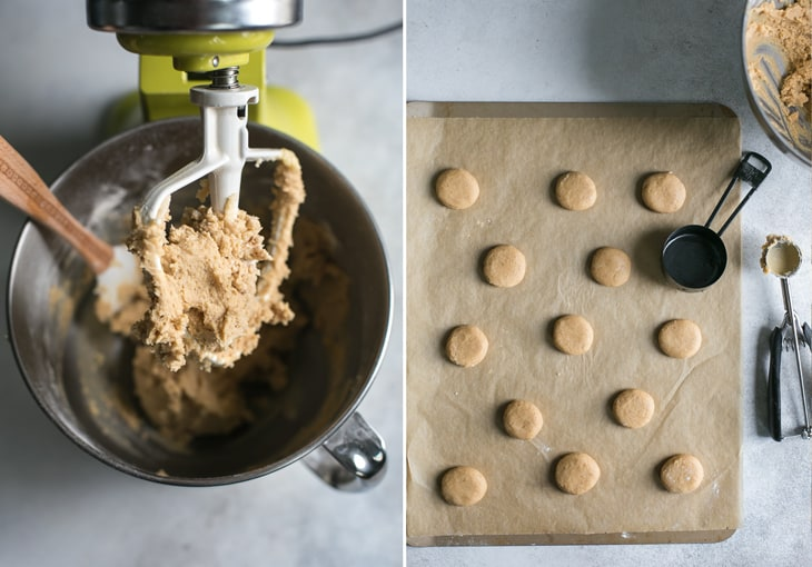 stand mixer and cookie sheet to make eggnog cookies