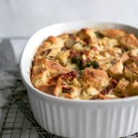 corningware casserole dish with breakfast strata