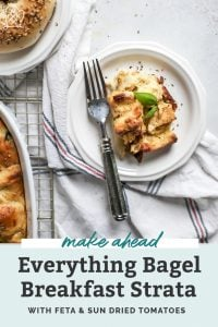 Everything Bagel Breakfast Strata on white plate with fork