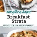 Everything Bagel Breakfast Strata on white plate with fork and in serving dish