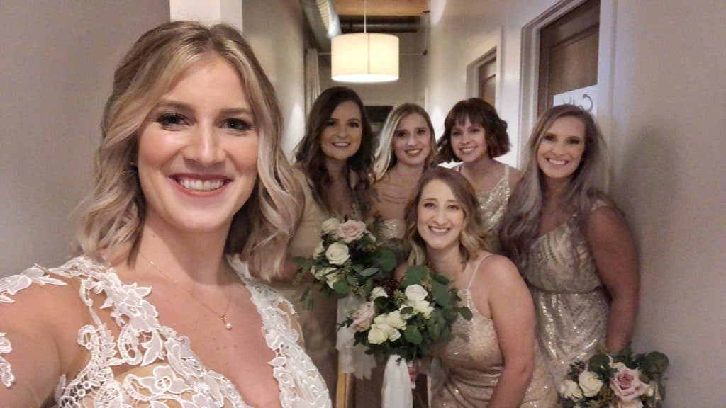 bridesmaids at baker lofts