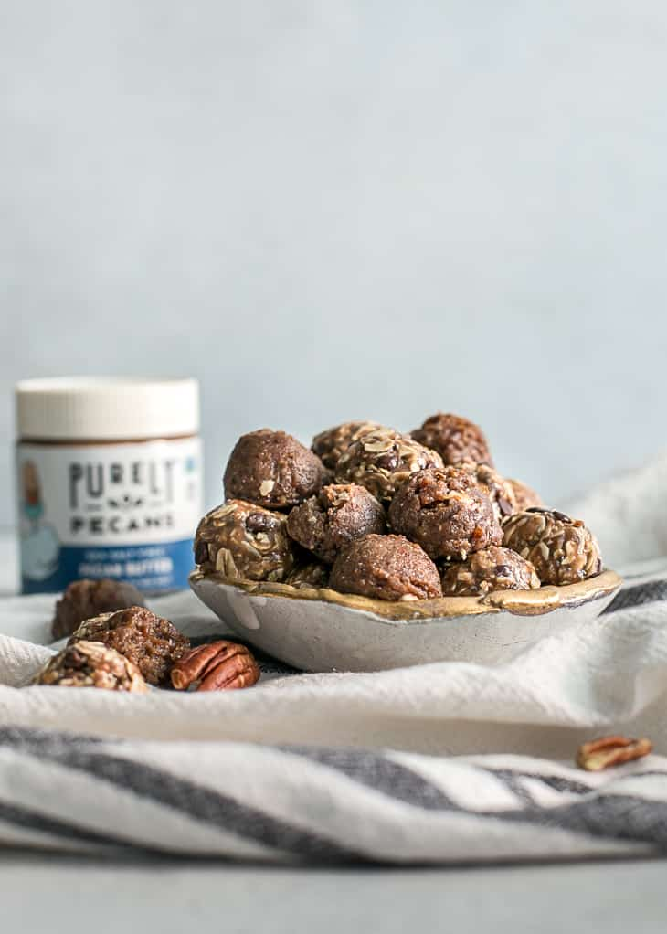 pecan butter energy bites in bowl