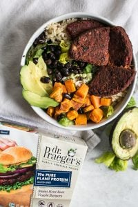 beet burger burrito bowl with avocado, sweet potato and black beans