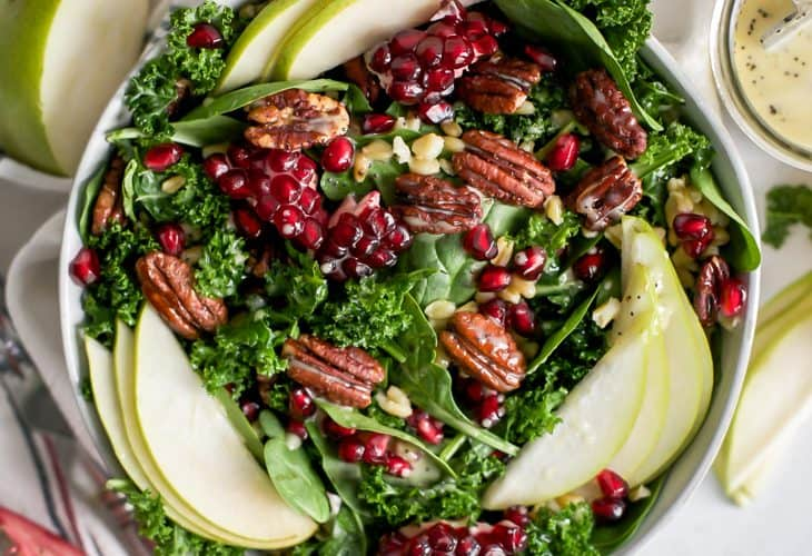 Pomegranate Pear Salad with Candied Pecans and Orange Poppy Seed Dressing