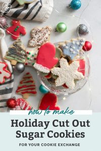 holiday sugar cookies in glass bowl