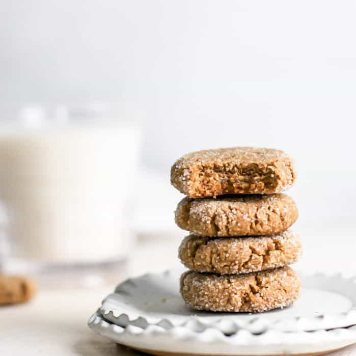 stack of vegan molasses cookies