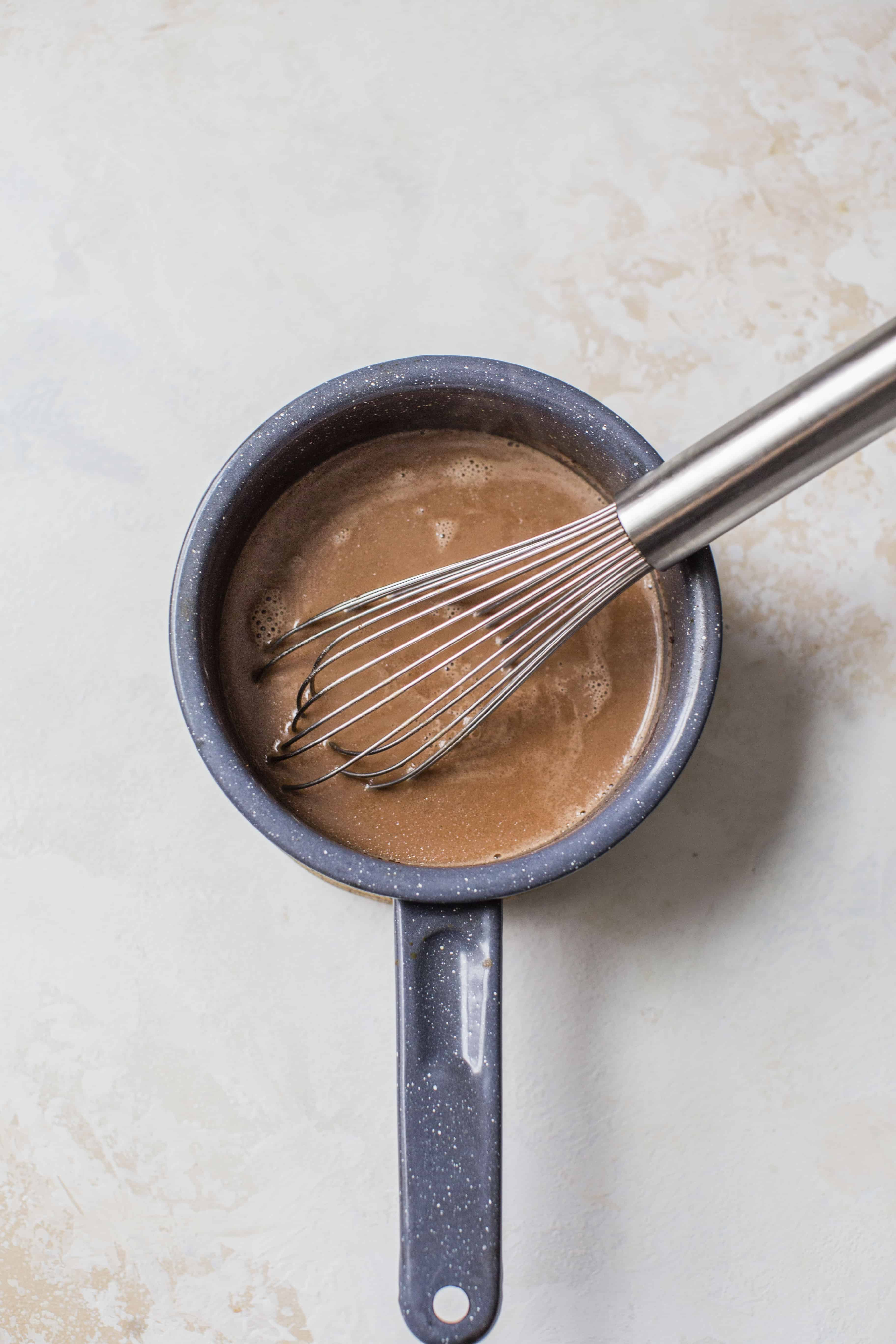 whisk in pan of chocolate peppermint creamer