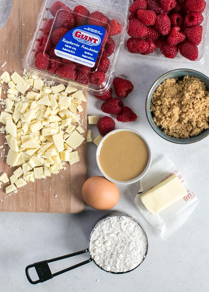 ingredients for raspberry white chocolate blondies