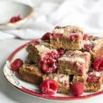 plate of raspberry white chocolate blondies