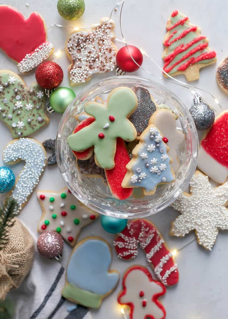 christmas sugar cookies in antique glass bowl