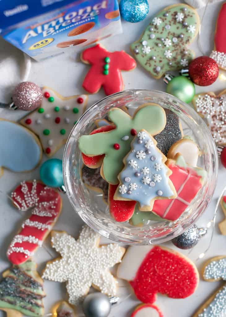 holiday christmas sugar cookies in glass bowl