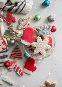 glass bowl of christmas sugar cookies
