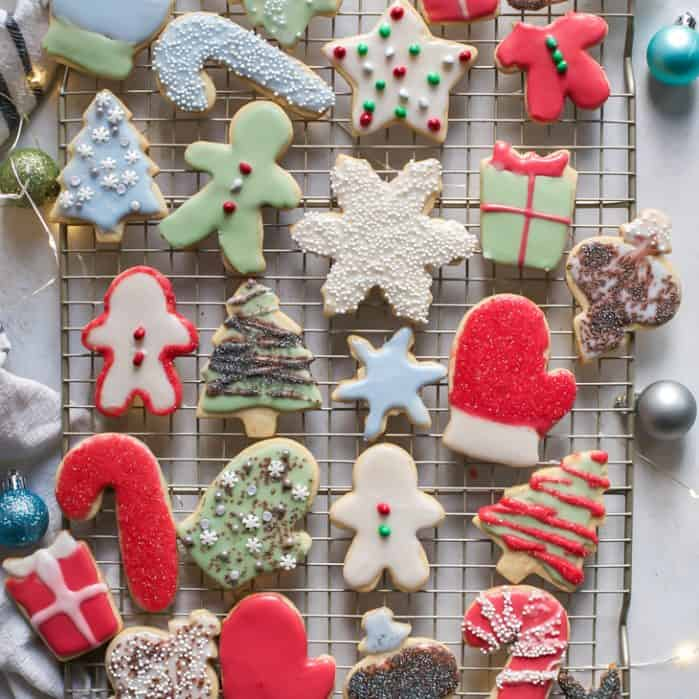 decorated christmas sugar cookies on wire rack