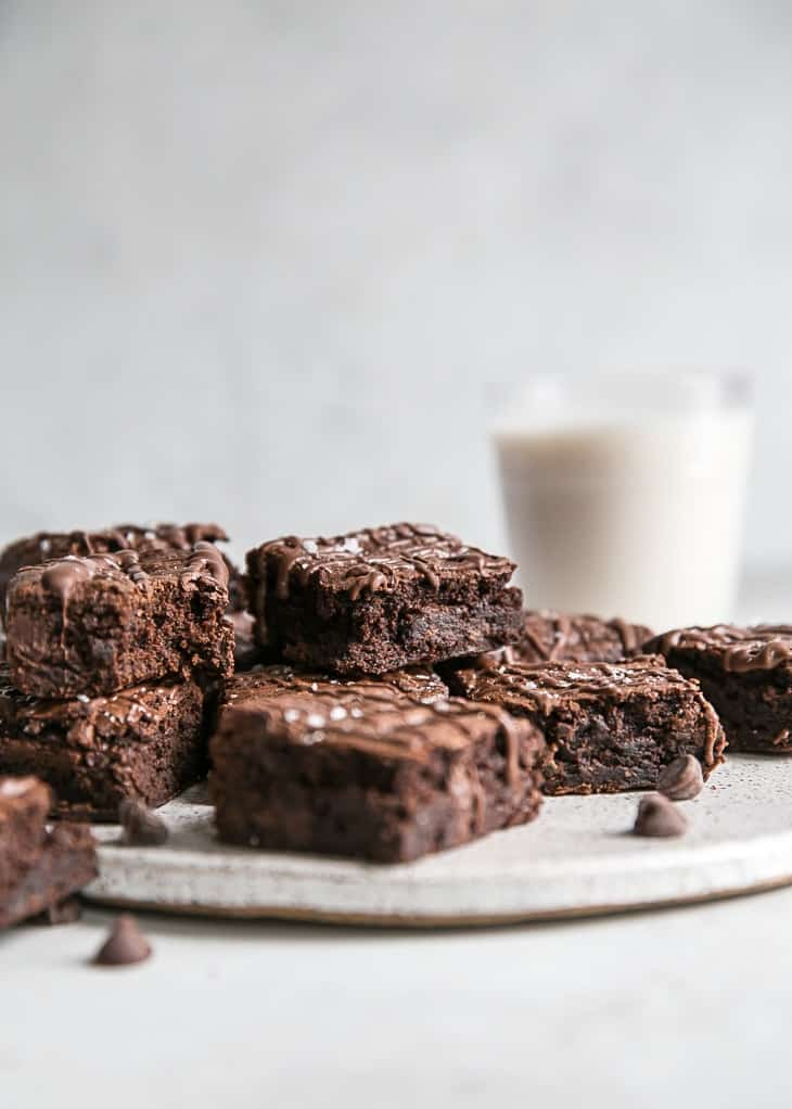 plate of fudgy grain free brownies and glass of milk