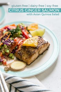 Citrus Ginger Salmon with Asian Quinoa Salad on turquoise rimmed plates
