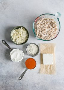 ingredients needed for buffalo chicken dip