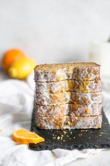 stack of glazed orange lemon poppy seed bread