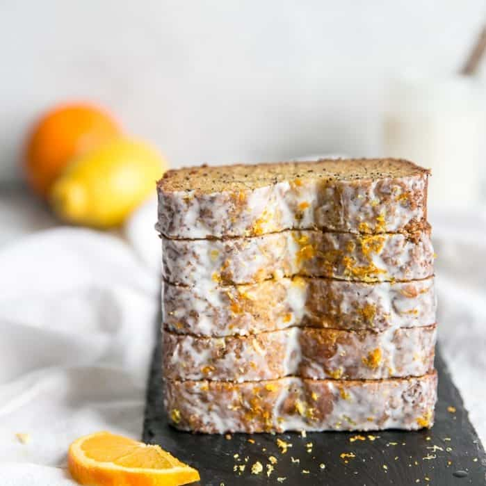 stack of glazed orange lemon poppy seed bread