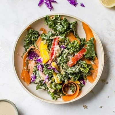 Rainbow Kale Quinoa Salad with Creamy Ginger Dressing [ plus a food & body image chat ]