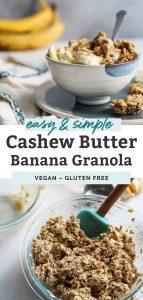 bowl of yogurt with granola, cashew butter and bananas