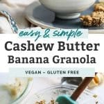 bowl of yogurt with granola, cashew butter and bananas