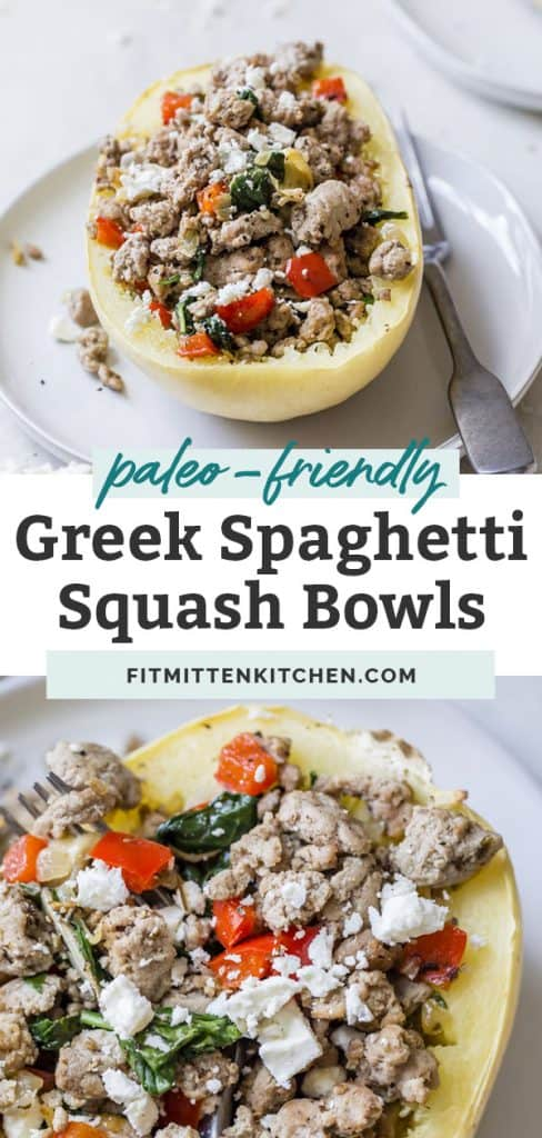 bowl of feta with spaghetti squash bowls on white plate