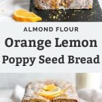 lemon poppy seed bread with oranges and lemons on cutting board
