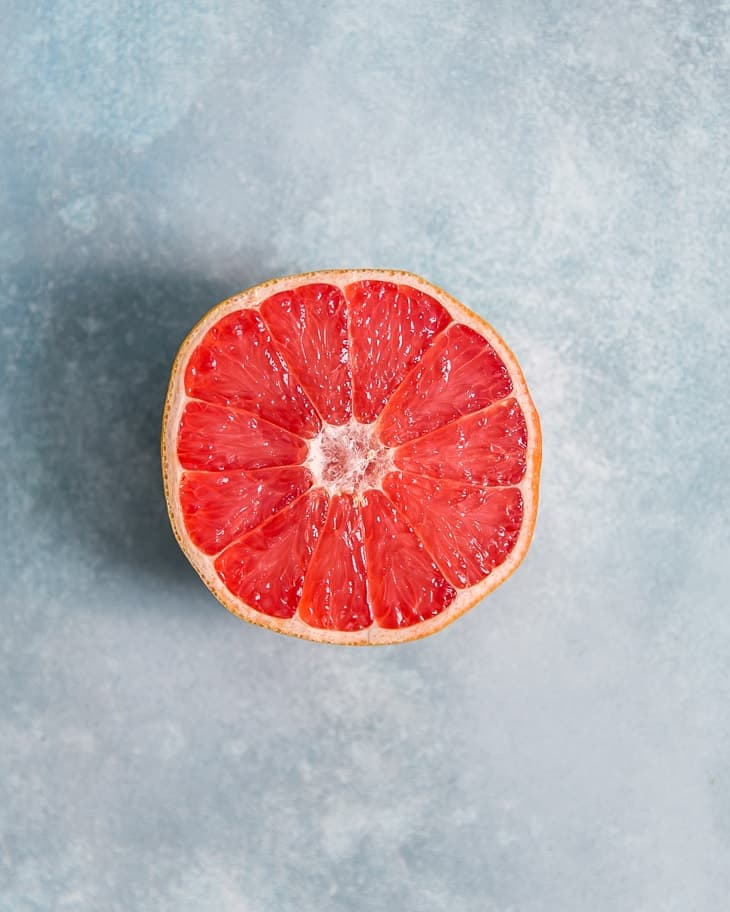 cut open texas ruby red grapefruit