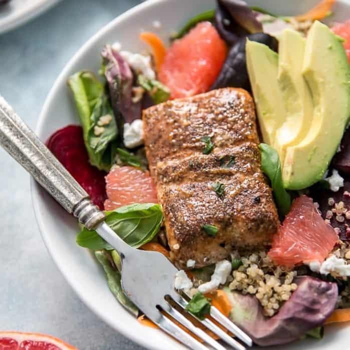 Grapefruit Glazed Salmon Salad with avocado and grapefruit slices