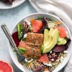 salmon salad with grapefruit and avocado