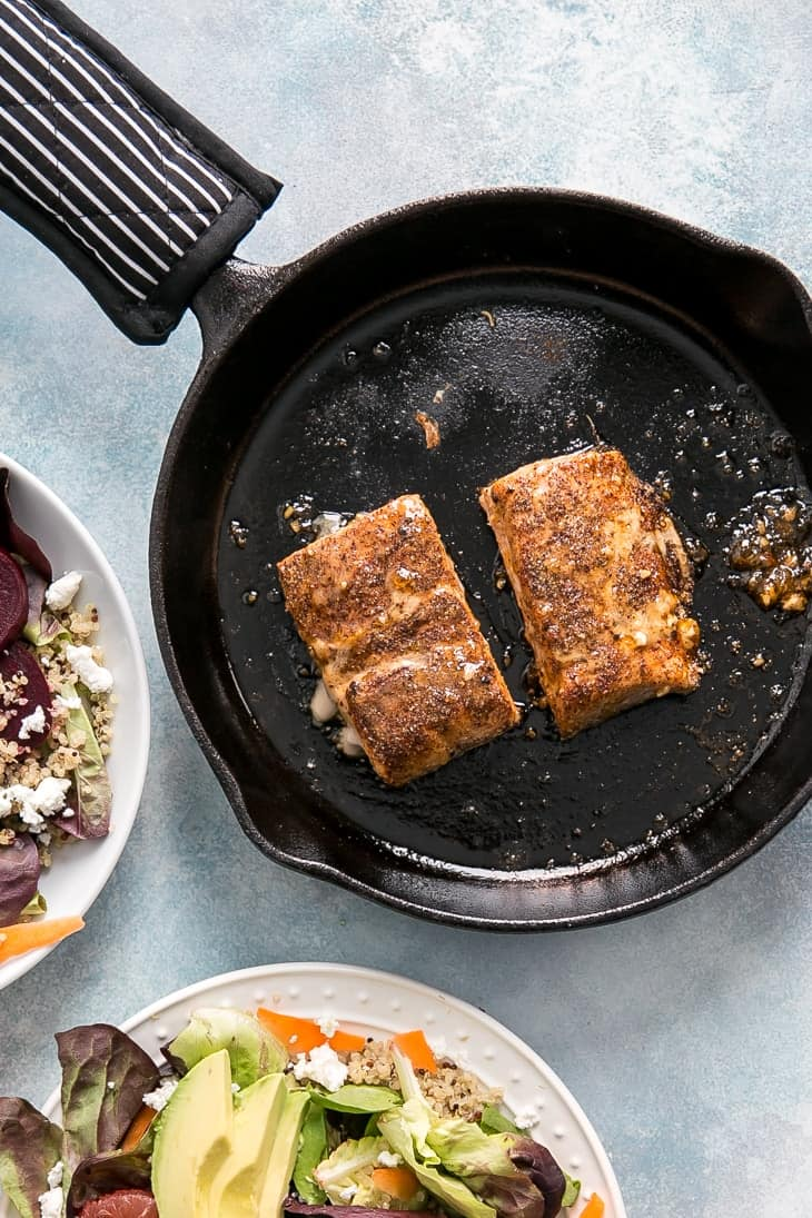 honey grapefruit glazed salmon in cast iron skillet
