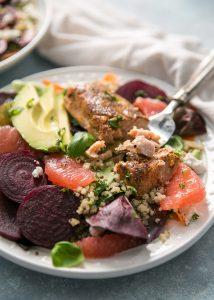 fork digging into salmon salad recipe