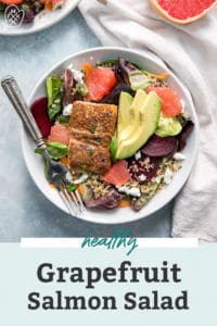 salmon salad with grapefruit and avocado