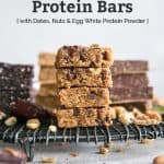 homemade protein bars stacked on cooling rack