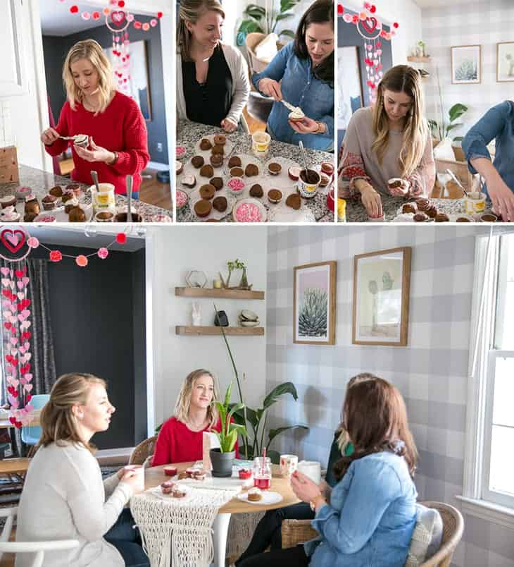galentine's day get together with Simple Mills cupcakes