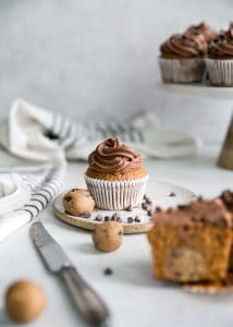 chocolate frosted cupcakes with stuffed cookie dough