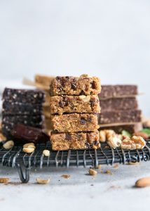 stack of homemade protein bars on cooling rack