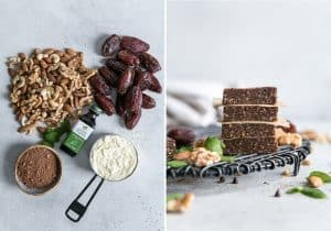 how to make mint chocolate homemade protein bars with dates and nuts