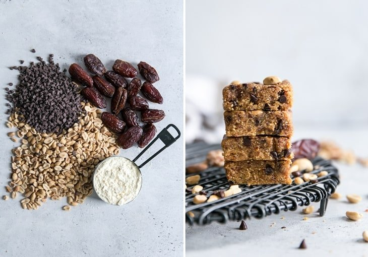 ingredients for homemade peanut butter protein bars with dates