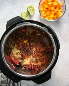 chili ingredients in instant pot for butternut squash chili