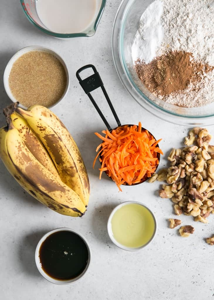 ingredients needed for carrot cake banana bread
